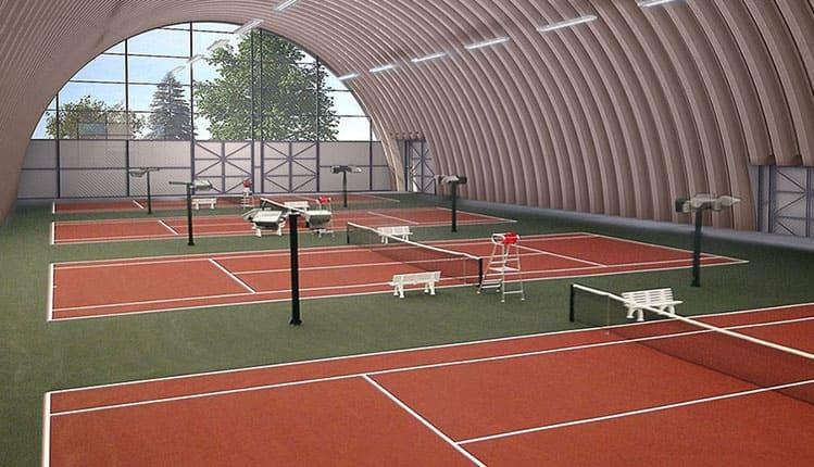 Строительство крытого теннисного корта
